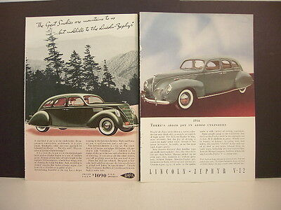 LINCOLN V-12 - Five Vintage 1930's Magazine Ads