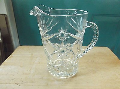 Anchor Hocking Clear Glass Early American Prescut EAPC Pitcher