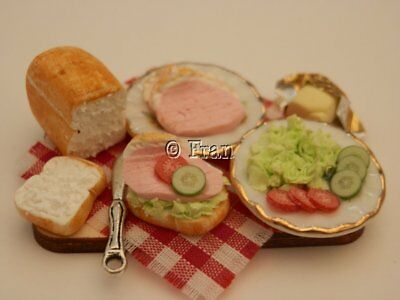 Dolls house food: Making ham salad sandwiches prep board -By Fran