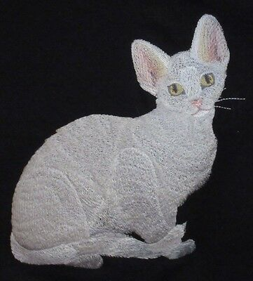 Embroidered Long-Sleeved T-Shirt - Devon Rex Cat C7919