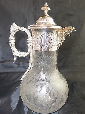 Antique C1900 Silver Plated Engraved Christmas Scene Claret Jug