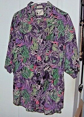 Size Large Goouch 100% Rayon Vintage Hawaiian Shirt Button Up Purple Green Euc
