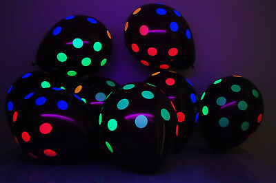 Black Latex 11 inch Neon UV Blacklight Reactive Polka Dot Balloons