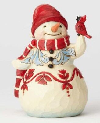 Jim Shore HWC Make A Melody Snowman with Cardinal Pint Sized Figurine 4058803