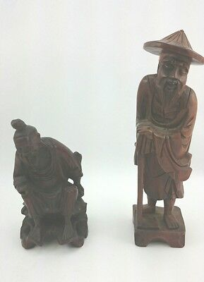 VINTAGE ASIAN FIGURINE Chinese Hand Carved Wood Statue Fu Manchu Inset Character