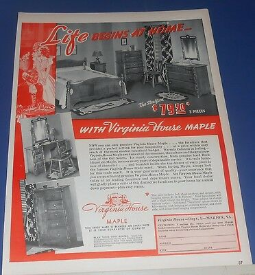 1940 VIRGINIA HOUSE Maple bedroom furniture Ad ~ The Stratford 3 pc $79.50