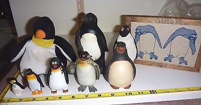 Lot of 9 PENGUINS - Figurines, Plush, Picture   ** Nice Collection**