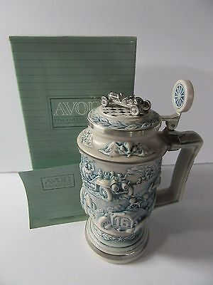 Avon 1989 Raccing Race Car Stein - Ceramic & Pewter - Mint In Box