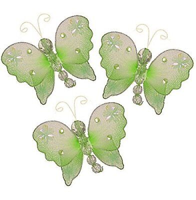 The Butterfly Grove Emily Decoration 3D Hanging Mesh Organza Nylon Decor, Green