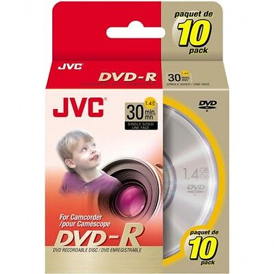 JVC Mini DVD-R 1.4GB 30min For DVD Player Camcorder Handycam - PACK OF 10