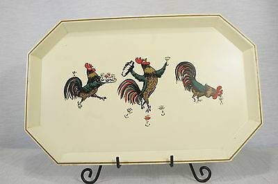 Nashco New York Vintage TOLE Ware Tray Drinking Roosters, Martini glasses