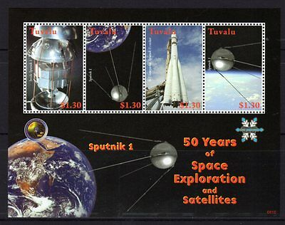 Tuvalu 2008 Sputnik 1 50 Years of Space Explorarion  Sheetlet 4 MNH