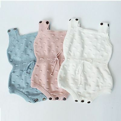 Bodysuit Knitted Baby Girls Toddler Strap Jumpsuit Rompers Outfits Clothes