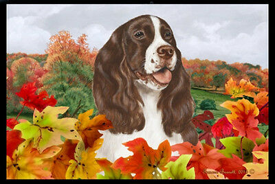 Indoor/Outdoor Fall Floor Mat - Liver & White English Springer Spaniel 40031