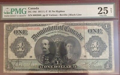 "1911 Canada Large Note Black line $1.00 ""No Hyphen"" PMG 25    RARE!!!!"