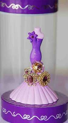 Purple Dress Ring Holder w 3 SM Purple Gem Rings & Case / Christmas Gift / NEW