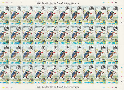 Lesotho 4965 - 1986 35s SURCHARGE on 25s COMPLETE SHEET of 40 incl VARIETIES