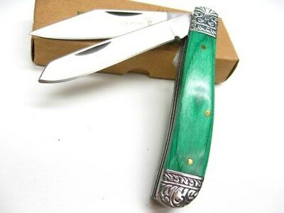 ELK RIDGE Green Wood GENTLEMAN'S  2 Blade Folding Pocket Knife New! ER-220GW