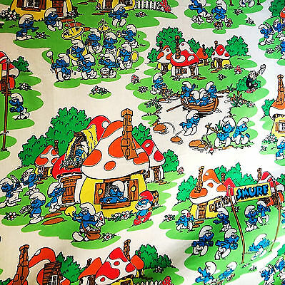VINTAGE SMURF SMURFS SHEET TWIN FLAT  Cotton/Poly Blend Excellent Condition
