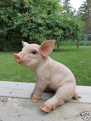 PIG STATUE SITTING OINKER PIGLET RESIN GARDEN INDOOR FARM DECOR FIG 10 in.