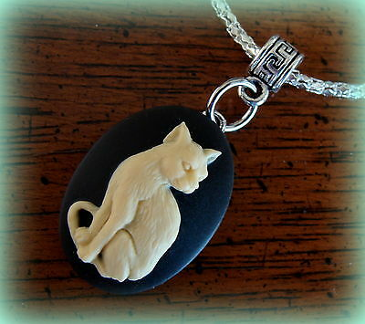 CAT CAMEO Pendant JEWELRY Necklace - ART DECO Retro Kitten Feline style