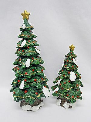 Home Interiors Green w/Snow Tree &Sparkles,Garland,Red Orn 9 1/2&6 1/2 Set Resin