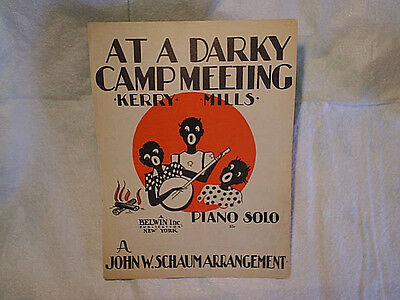 1945 AT A DARKY CAMP MEETING SHEET MUSIC,Racist,african american,black people