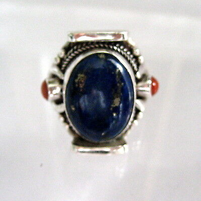 STERLING SILVER AND BLUE ENAMEL STONE AND CORAL RING 925 STERLING size 8