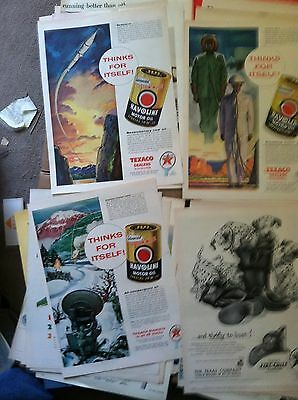 100 TEXACO GAS & OIL  LIFE size LARGE MAGAZINE ADS 1940s-50s  12c ea GREAT DEAL