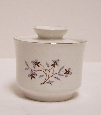 Salem China Whimsey Sugar Bowl With Lid Ironstone Purple Flowers England