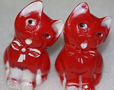 vintage salt and pepper shakers pair red plastic cats kittens  collectible set