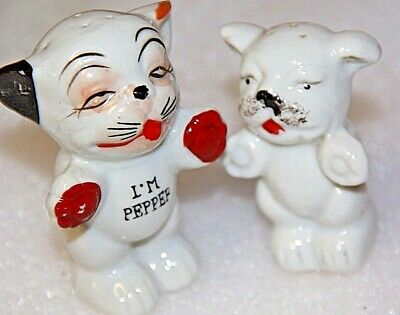 vintage salt and pepper shakers pair animal characters cat and dog pair set
