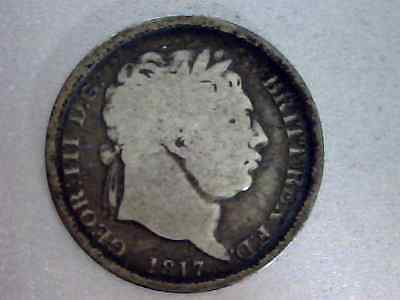 1817 Great Britian, Shilling,  King George III,   Silver