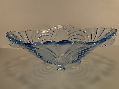 """Cambridge Caprice Moonlight Blue Four-Toed Oval 11 7/8"""" Handled Bowl #65"""
