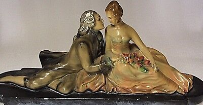 vintage chalkware sculpture crinoline loving couple larger sculpture