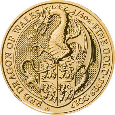 1/4 oz 999 Gold Goldmünze 25 Pfund The Queens Beasts The Dragon of Wales