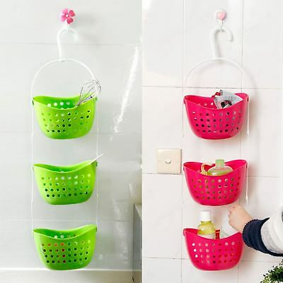 3 Tier Plastic Basket Shower Caddy Hanging Rack Tidy Shelf Organiser Storage