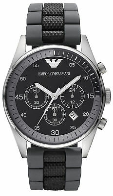 Emporio Armani Gent's Tazio Black & Grey Strap Chronograph Sports Watch AR5866