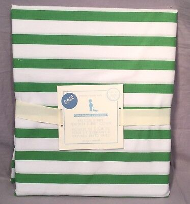 Pottery Barn Kids Green Organic Breton Stripe Toddler Duvet Cover