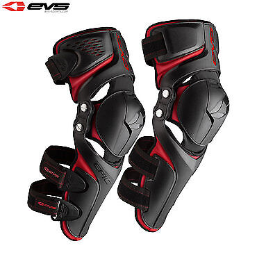 EVS Epic Motorcycle Motorbike Adjustable Strapping Knee Guards - Black