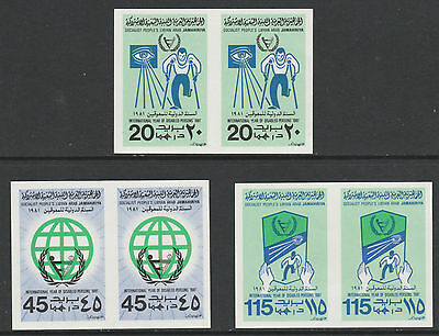 Libya 4999- 1981 INT YEAR DISABLED set of 3  IMPERF PAIRS  unmounted mint