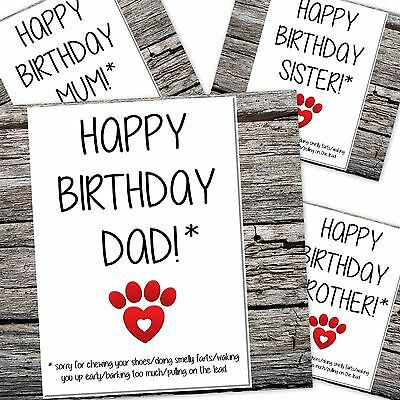 Funny Birthday Card From The Dogs Mum Dad Sorry For Things I Do