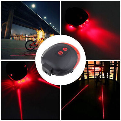 2 Laser +5 LED flashing lamp Rear Bicycle Cycling Bike Safety Warning Tail Light
