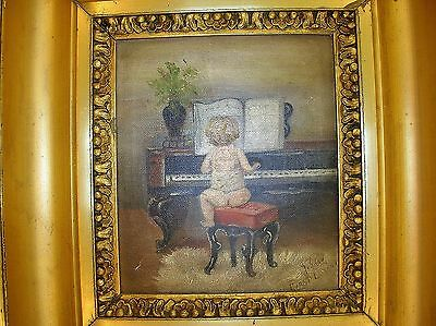 """19Th C. Miniature O/C '""""Baby First Lesson"""" With Original Gilded Frame -Very Cute"""