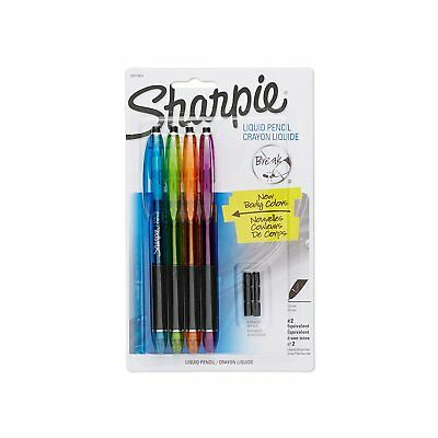 Sharpie Liquid Pencils with 6 Eraser Refills, 0.5mm, Fashion Colors, 4-Pack