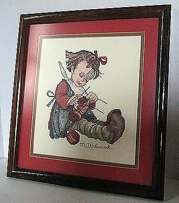 Beautifully Framed and Finished Hummel Cross Stitch Imagery Child Knitting