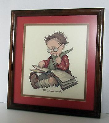 Beautifully Framed and Finished Hummel Cross Stitch Imagery Boy Reading