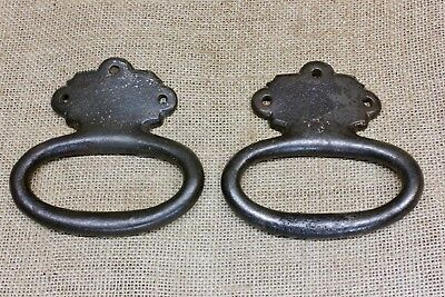 "2 tub barrel handles radius pulls old rustic fits 20"" vintage cast iron Tool Box"