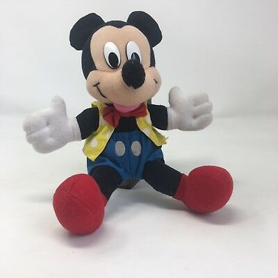 """Vintage Walt Disney Mickey Mouse Plush Blue and Yellow Polka Dot Outfit 10"""""""