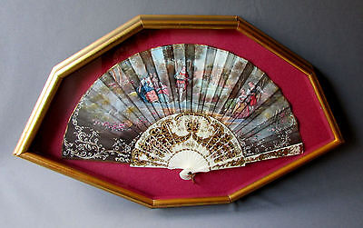 Beautiful ANTIQUE Hand Painted French Style SILK HAND FAN Framed Shadowbox